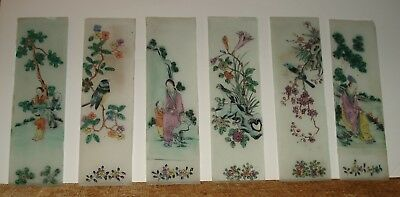 LOT OF 6 Antique Asian Japanese Chinese Reverse Painting on Glass Panes