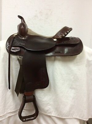 """HEREFORD BRAND TEX Tan of Yoakum 15"""" Used Trail Saddle with Silver Laced  Cantle"""