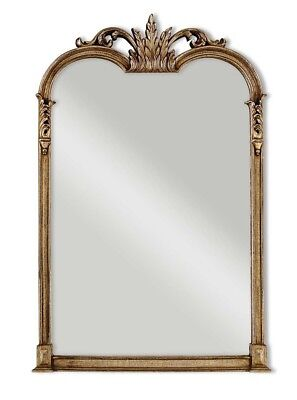 """French Tuscan Ornate Arched Wall Mirror Acanthus Leaf Mantle Bath Vanity 42.5""""H"""