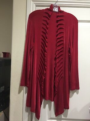 TRAVELERS BY CHICO'S Red Ruffle Jacket Size 2