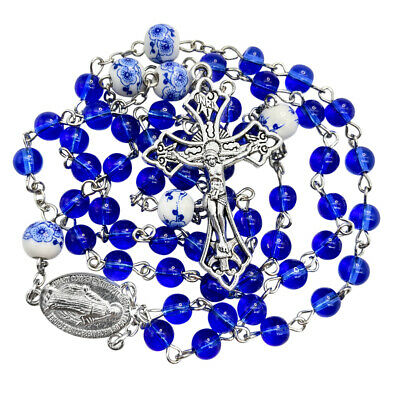 Catholic Rosary Necklace Round Blue Glass Crystal Beads Miraculous Medal & Cross