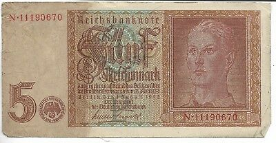 EXTREMELY Rare Old WWII Germany German War Money Note WW2 Collection Lot:US/G11
