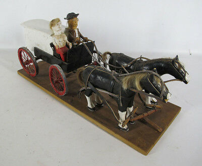 Early! Antique Pennsylvania Folk Art Carved Horse Drawn Carriage & Rider #1 yqz