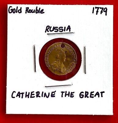 1779 Russia Catherine The Great Gold Rouble Coin - Great Details (Holed)
