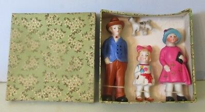 Very Nice Family All Bisque Set In Original Box / Made In Japan / 602-681