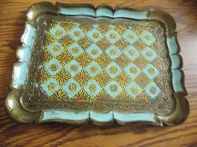 "Rectangle Florentine Toleware Tray 12"" x 9 1/2"" Made in Italy Blue Brown"