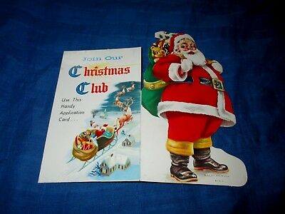 VINTAGE 1950s SAMPLE SANTA CLAUS DIE CUT CHRISTMAS ORNAMENT-BANK-WILKES-BARRE