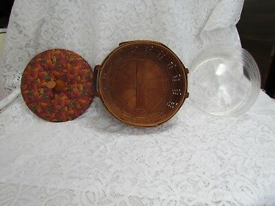 1989 Longaberger Darning Basket with Protector and Fabric Autumn Leaves Lid
