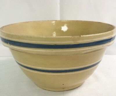 Vintage McCoy Ovenware Bowl USA Yellow Blue Stripe Mixing Batter Bowl Pottery