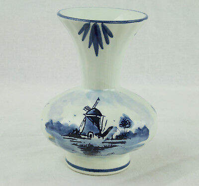 """Vintage Delft Blue Made in Holland Small Vase - About 4"""" Tall and 3 1/4"""" Wide"""