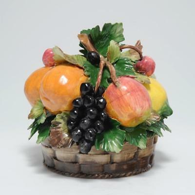 Vintage Capodimonte Fruit In Basket Centerpiece Table Top Signed Italy