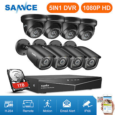 SANNCE 1080P HDMI 8CH DVR 720P HD Outdoor IR Night Vision Security Camera System