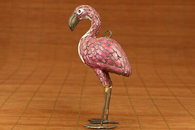 only one chinese old Cloisonne Hand Painting flamingos Statue Figure Ornament