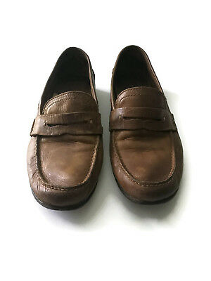 Men's FRYE Lewis Penny Loafers Slip On Shoes Distressed Leather Size 10!