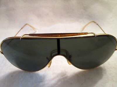 2ec2a48cc4 Vintage Ray Ban B&L Sunglases Wings Aviator / Pilot Green Lens Gold Frame !