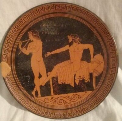 Very Rare Antique Replica Handmade Greek Pottery Clay Dish Plate  450 Bc