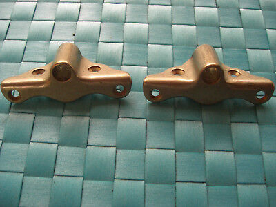 Unused Pair Vintage 1/2 Inch Bronze Oarlock Sockets Fit Inside Gunwale