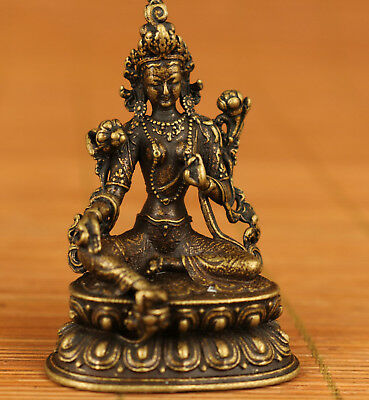 Blessing Asian tibetan Old Bronze Hand Carved buddha figure Statue home deco