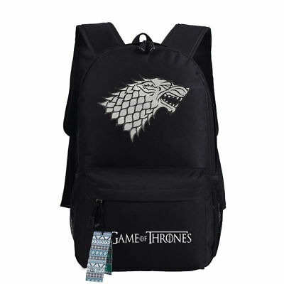 Game of Thrones House Stark of Winterfell Direwolf Backpack Student Shoulder Bag