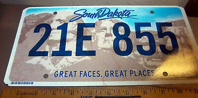 South Dakota Metal License Plate, 2013, Great Faces Great places, 21E 855