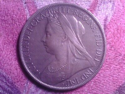 Great   Britain  One  Penny  1900   Au20