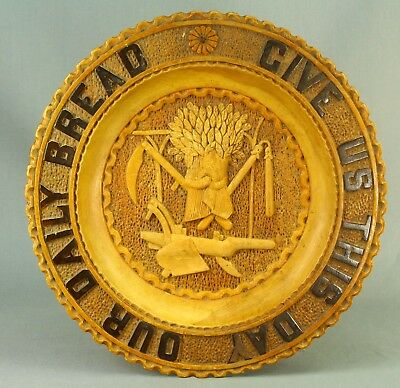 """!Antique Carved Fruit Wood """"GIVE US THIS DAY OUR DAILY BREAD"""" Charger, Plate"""