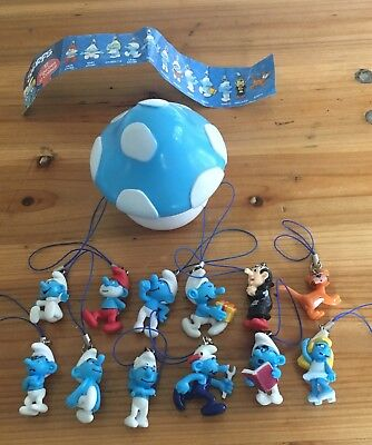 12 Smurfs Figurines And Mushroom House Collectible Ornaments Miniature
