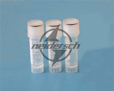 100x Conical Micro Centrifuge Tubes With Caps Plastic Chemistry Test Vials 2ml