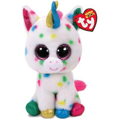 "TY Beanie Boos HARMONIE Rainbow Spotted Unicorn  7"" Multi Colored New With Tags"