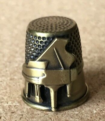 """Grand Piano Collectible Thimble Gold Tone Vintsge 1"""" Good Quality!"""
