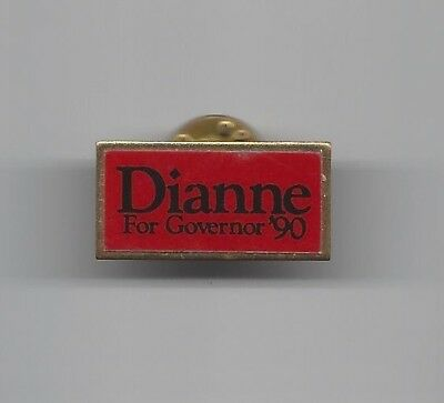 Dianne Feinstein California (D) Governor nominee 1990 woman political pin button