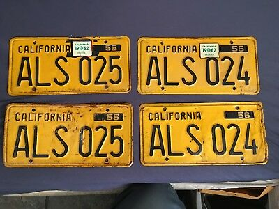 Consecutive 1956 California License Plates Pairs Yom Dmv Clear Als 025 Als 026