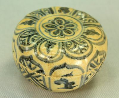 !Antique 15-16c Annamese Vietnamese Glazed B & W Ceramic Earthenware Jarlet Box