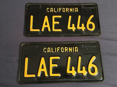 Excellent Condition 1963 California License Plates Pair Yom Dmv Clear Lae 446