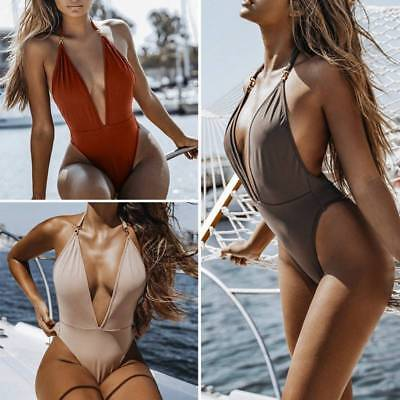 SEXY Push Up Padded Bikini Womens Monokini One-Piece Bandage Backless Swimsuit