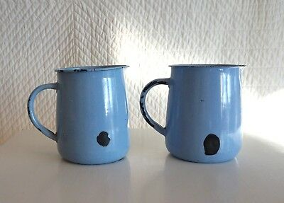 Two Genuine Vintage Shabby Blue Enamel Jugs Enamelled Metal