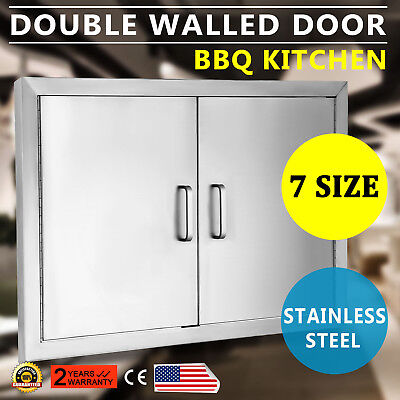 """New 31"""" Outdoor Kitchen / Bbq Island Stainless Steel Double Access Door Usa"""