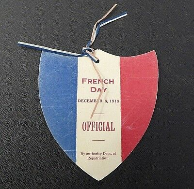 Ww1 Aif Australian Patriotic Paper Badge Official French Day 1918 Shield Great