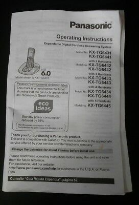 Panasonic Operating Instructions For Dect 6.0 (KX-TG6431) Cordless Phone
