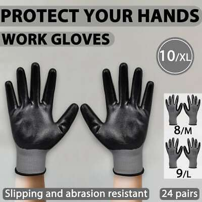 vidaXL Work Gloves Nitrile 24 Pairs Grey and Black Protective Multi Sizes