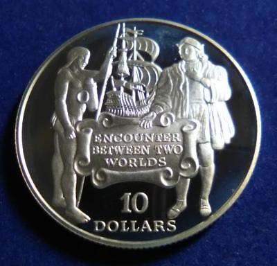 BARBADOS - 1991 Sterling silver $10 - Discovery of America - lightly toned PROOF