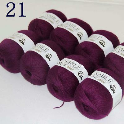 Sale 8 Skeins Super Pure Sable Cashmere Scarves Hand Knit Wool Crochet Yarn 21