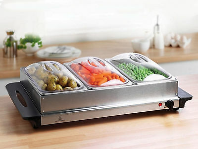 Kingavon Hot Buffet Server and Warming Tray 3-Pan Stainless Steel
