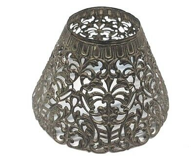 Stunning Art Nouveau Floral Scrolled Antique Pierced Stamped Brass Lampshade wow