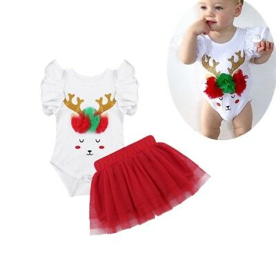 Newborn Baby Girls Christmas Elk Reindeer Outfit Romper+ Tutu Skirt Dress 2 Pcs