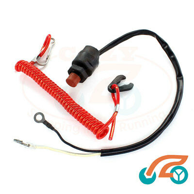 Kill Stop Switch & Lanyard Tether 6E9-82575-09 For Yamaha 15HP 25HP 30H 40HP