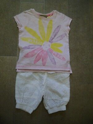 Baby Girls 2 Piece Pink & White T-Shirt & Shorts Set By Next Size 3-6 Months