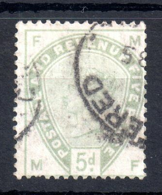 GB QV 1883 5d green SG193 good used WS10120