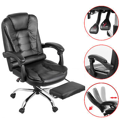 Executive Reclining Office Chair Ergonomic High Leather Footrest Armchair