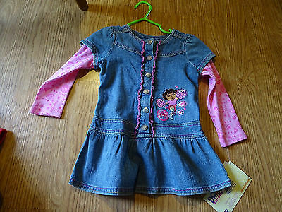 Nickelodeon Dora The Explorer Denim Dress Girls Size 2T NWT Cheerleader
